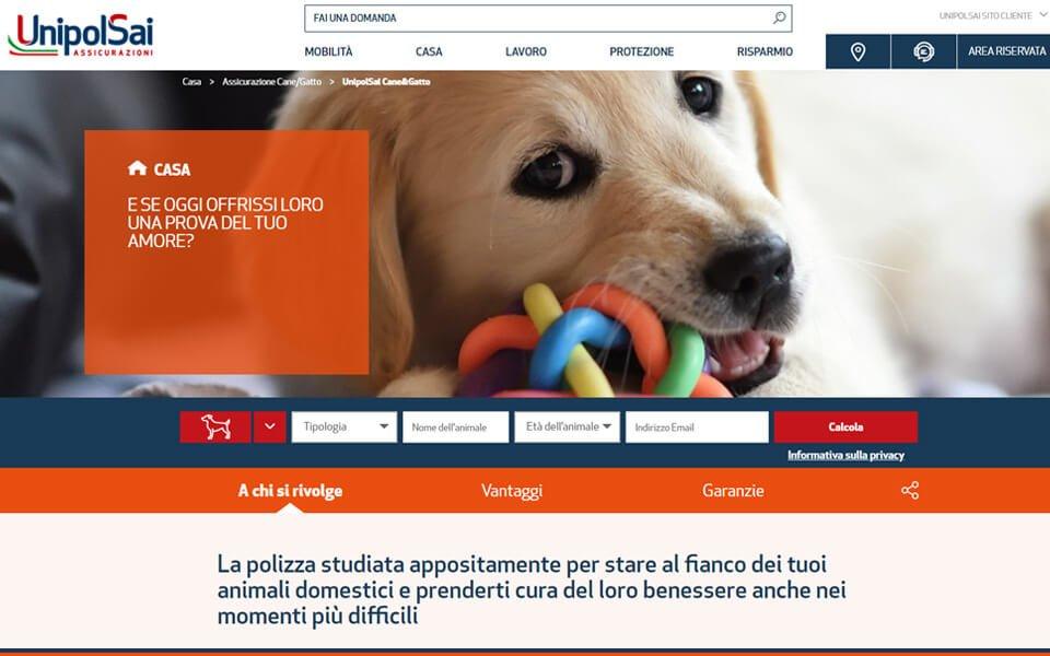 Screenshot del sito Assicurazione Cane UnipolSai