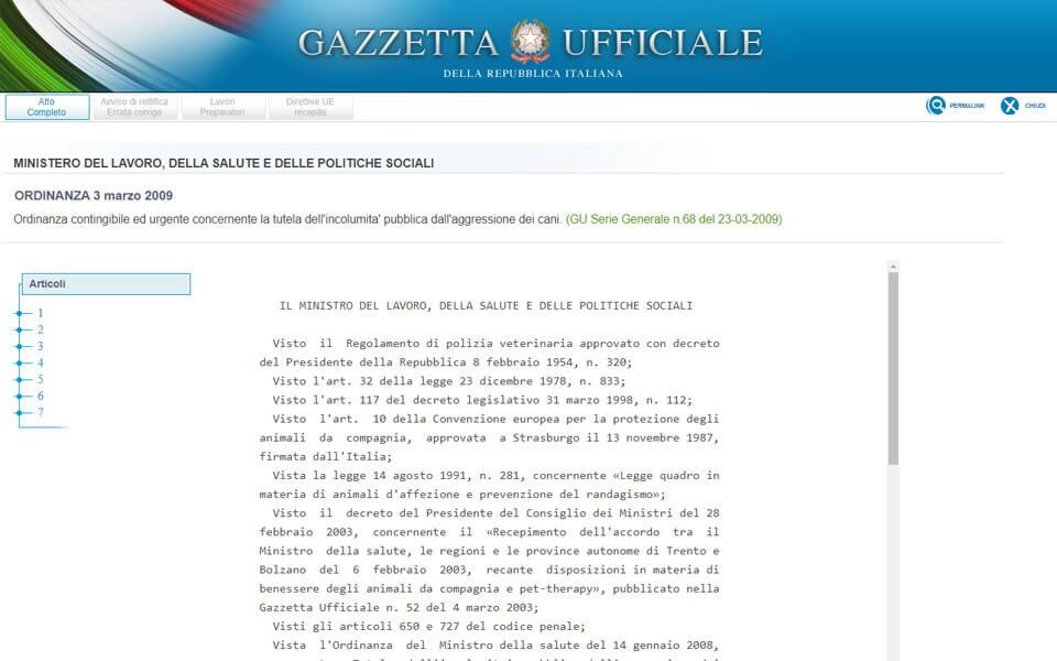 Screenshot del sito della gazzetta ufficiale con le novità dell'ordinanza del 3 marzo 2009